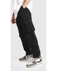 BoohooMAN Relaxed Fit Cargo Chino Trousers - Black