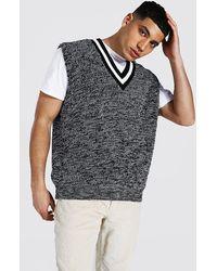 BoohooMAN Geripptes vesttop aus gedrehtem Garn in Kontrastfarben - Grau