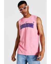 BoohooMAN Long Beach Print Overdye vest - Pink