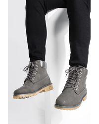 BoohooMAN Worker Boots - Grey