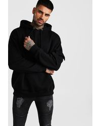 BoohooMAN Oversized Oth Utility Hoodie With Sleeve Pocket - Black