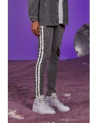 BoohooMAN Super Skinny Side Stripe Jean With Plastic Chain - Gray