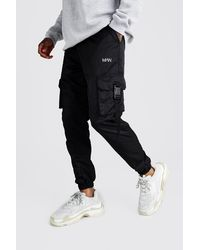 BoohooMAN Original Man Shell Buckle Joggers - Black