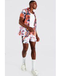 BoohooMAN Short Sleeve Abstract Shirt And Swim Shorts - Red