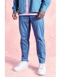 BoohooMAN Tapered Leg Twill Trousers - Blau