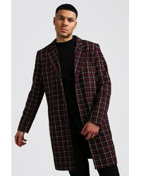 BoohooMAN Check Wool Look Overcoat - Rot