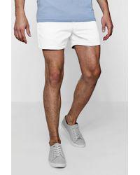 Boohoo - Short Length Slim Fit Chino Short In White - Lyst