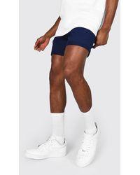 BoohooMAN Slim-Fit Chino-Shorts - Blau