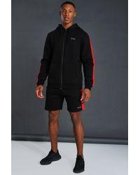 BoohooMAN Man Active Shorts-Set mit Reißverschluss und Seitenstreifen - Schwarz