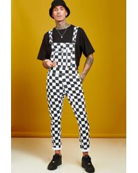 BoohooMAN - Slim Fit Checkerboard Print Dungarees - Lyst