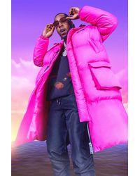 BoohooMAN Burna Boy 4 Pocket Longline Hooded Puffer - Pink