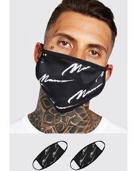 BoohooMAN 2er-Pack Fashion-Masken mit durchgehendem MAN-Schriftzug - Schwarz