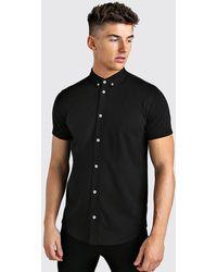 BoohooMAN Short Sleeve Regular Collar Jersey Shirt - Schwarz