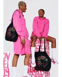 BoohooMAN Pride Love Is Circle Print Tote Bag - Black