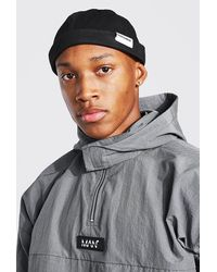 BoohooMAN Official Man Tab Woven Cotton Docker Hat - Noir