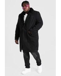 BoohooMAN Big & Tall Mantel mit Kunstpelzkragen - Schwarz