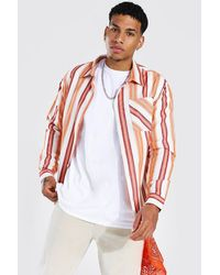BoohooMAN Long Sleeve Striped check Overshirt - Orange