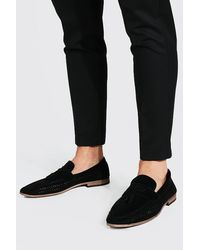 BoohooMAN Faux Suede Open Loafer - Black