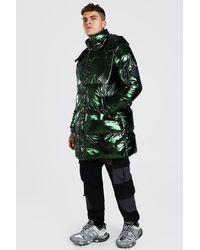 BoohooMAN Iridescent Hooded Longline Puffer - Green