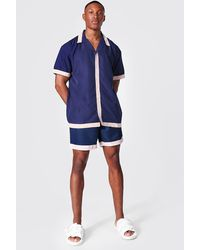 BoohooMAN Oversized Revere Tape Shirt And Swim - Blue