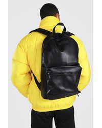 BoohooMAN Leather Look Rucksack - Black