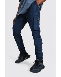 BoohooMAN Official Man Ripstop Ruched Cargo Trouser - Blue