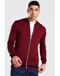 BoohooMAN Smart Striped Rib Knitted Bomber - Rouge