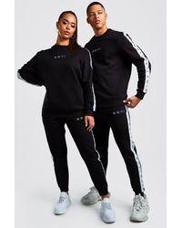 BoohooMAN Hers Set in Übergröße aus Pullover und Jogginghosen mit Lasche - Schwarz