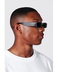 BoohooMAN Embellished Rectangle Sunglasses - Black