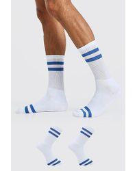 BoohooMAN 2 Pack Stripe Sport Socks - Blue