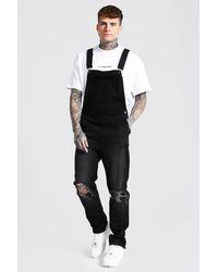BoohooMAN Slim Fit Long Overall With Zip Hem - Black