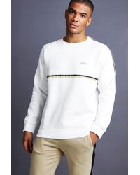 Man Raglan Jumper With Tape Detail White