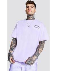 BoohooMAN Oversized Varsity Print T-shirt - Purple