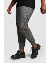 BoohooMAN Big And Tall Skinny Fit Woven Cargo Joggers - Gray