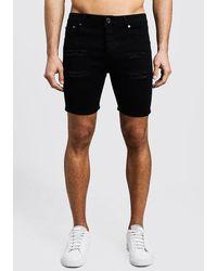 BoohooMAN Skinny Fit Distressed Denim Shorts - Black