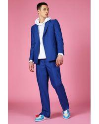 BoohooMAN Relaxed Split Hem Suit Trousers - Blue