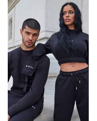 BoohooMAN Her Utility Cropped Sweat Buckle Tracksuit - Black