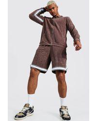 BoohooMAN Man kurzer Frottee Trainingsanzug mit Reißverschluss - Braun