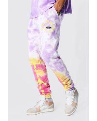 BoohooMAN Tall Regular Fit Batik-Jogginghosen mit Peace-Grafik - Lila