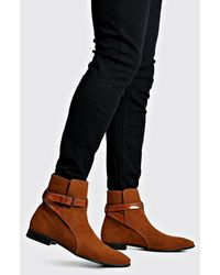 BoohooMAN Wrap Around Faux Suede Chelsea Boots - Black