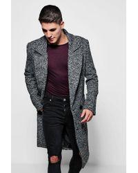 BoohooMAN - Textured 3/4 Smart Lined Overcoat - Lyst
