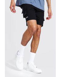 BoohooMAN Short cargo en sergé à poches multiples à fermetures éclair MAN Tall - Noir