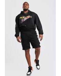 BoohooMAN Plus Size Short Length Denim Dungaree - Black