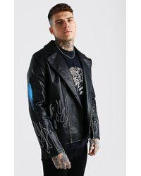 BoohooMAN Man Flames Graffiti Leather Look Biker - Black