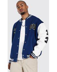 BoohooMAN Jersey Varsity Bomber Jacket With Badges - Blue