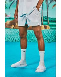 BoohooMAN Smart Buckle Swim Shorts In Dogtooth Print - White