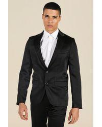 BoohooMAN Slim Satin Design Single Breasted Suit Jacket - Black