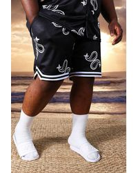 BoohooMAN Plus Mid Mesh Paisley Basketball Shorts - Black