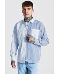 BoohooMAN Man Oversized Pinstripe Spliced Shirt - Blue