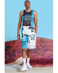 BoohooMAN Tall Official Spliced Mesh Short Set - Blue